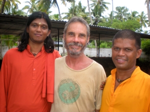 Pete with friends at the ashram.